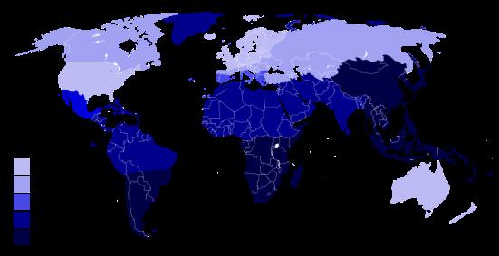 Географско разпространение на лактозната нетолерантност