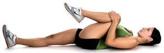 Разтягане за задно бедро и седалище от тилен лег със свито коляно