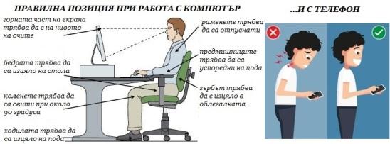 Правилно седене и работа с телефон