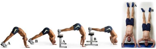 от ляво надясно: inverted shoulder press, feet elevated shoulder press, handstand shoulder press