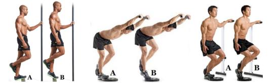 от ляво надясно: standing single leg calf raise, single leg donkey calf raise, bent knee single leg calf raise