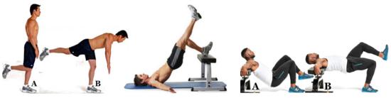 от ляво надясно: single leg bodyweigt RDL, heel elevated sigle-leg glute bridge, sigle leg hip thrust