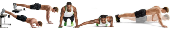 от ляво надясно: decline push ups, towel lfy push ups, one arm braced push ups