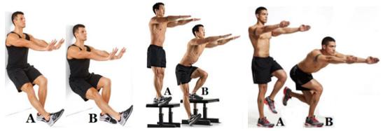 От ляво надясно: single leg door/wall slide squat, single leg box squat, skater squat