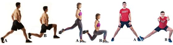 От ляво надясно: split squat, Bulgarian split squat, Cossack squat