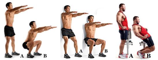 От ляво надясно: bodyweight basic squat, wall/ door slide squat, sissy squat