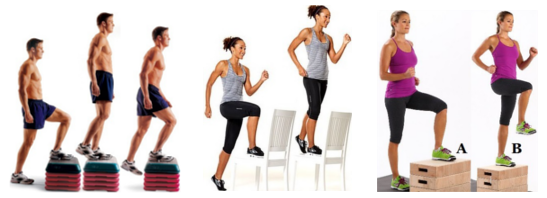 От ляво надясно: alternating step ups, step ups, step up with knee raise